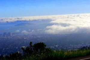 Early evening July ride; the fog rolls in blanketing Berkeley below