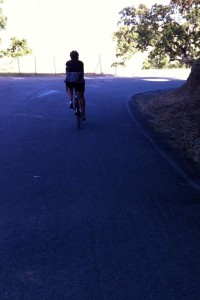 Parvati and I, riding up Mt Hamilton